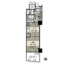 ゲートシティ大崎サウスパークタワー 9階1Kの間取り
