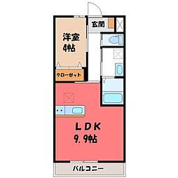 栃木県下野市小金井の賃貸アパートの間取り