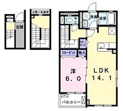 バロン ドール 3階1LDKの間取り