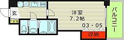 Luxe鶴見(ラグゼ鶴見) 8階1Kの間取り