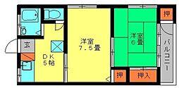 藤乃荘[201号室]の間取り