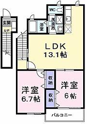 JR五日市線 武蔵増戸駅 徒歩11分の賃貸アパート 2階2LDKの間取り