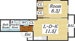 シャーメゾン赤い屋根[2階]の間取り
