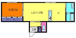 兵庫県神戸市東灘区北青木3丁目の賃貸アパートの間取り