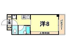 阪神本線 西宮駅 徒歩2分の賃貸マンション 3階1Kの間取り