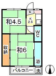 ビレッジハウス上成2号棟[403号室]の間取り