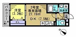 JR総武線 幕張本郷駅 徒歩10分の賃貸アパート 2階1DKの間取り