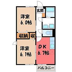 栃木県真岡市八木岡の賃貸アパートの間取り