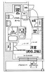 東急池上線 戸越銀座駅 徒歩8分の賃貸マンション 7階ワンルームの間取り