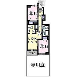 エテルノ ピアッツァ B[1階]の間取り