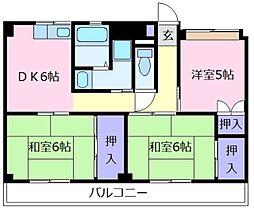 ビレッジハウス城蓮寺3号棟[2階]の間取り