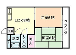 兵庫県川西市久代2丁目の賃貸マンションの間取り