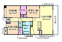 大阪府豊中市宮山町2丁目の賃貸マンションの間取り