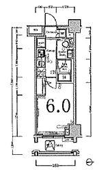 JR山手線 五反田駅 徒歩9分の賃貸マンション 4階1Kの間取り