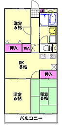 JR東北本線 土呂駅 徒歩10分の賃貸マンション 4階3DKの間取り