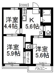 MAST ハウスメイト須賀C[202号室]の間取り