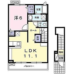 神奈川県鎌倉市上町屋の賃貸アパートの間取り