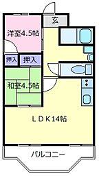 大阪府松原市阿保5丁目の賃貸マンションの間取り