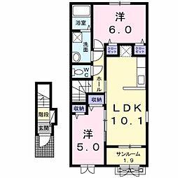 新潟県新潟市中央区姥ケ山6丁目の賃貸アパートの間取り