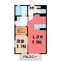 栃木県宇都宮市簗瀬町の賃貸アパートの間取り