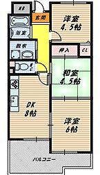 大阪府大阪市城東区関目6丁目の賃貸マンションの間取り