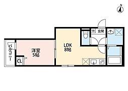 JR埼京線 与野本町駅 徒歩13分の賃貸アパート 2階1LDKの間取り