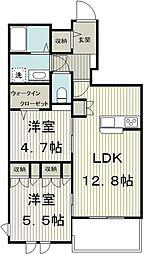 サンボナール 2階2SLDKの間取り