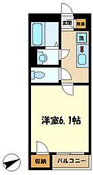 東急田園都市線 宮前平駅 バス14分 蔵敷下車 徒歩9分の賃貸アパート 2階1Kの間取り