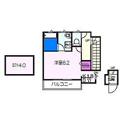 南海高野線 萩原天神駅 徒歩9分の賃貸アパート 2階1Kの間取り