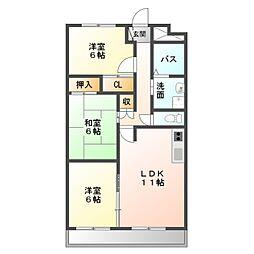 愛知県豊橋市柱一番町の賃貸マンションの間取り
