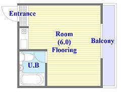 ルネッサンスシャレード 4階ワンルームの間取り