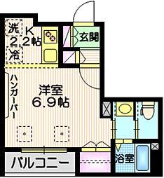 Tiida武蔵小山 2階1Kの間取り