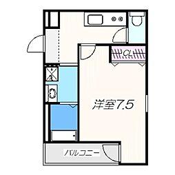 フジパレス堺梅北III番館 3階1Kの間取り