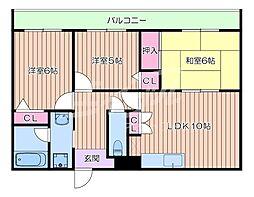 JR東海道・山陽本線 吹田駅 徒歩17分の賃貸マンション 3階3LDKの間取り