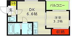 ハーモニーテラス大宮III 3階1DKの間取り