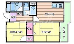 阪急京都本線 相川駅 徒歩7分の賃貸マンション 2階2DKの間取り