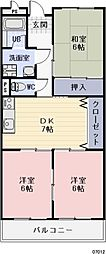 愛知県瀬戸市福元町の賃貸マンションの間取り