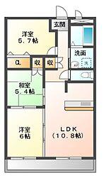 愛知県岡崎市百々西町の賃貸マンションの間取り