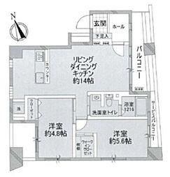 ジェイパーク芝浦ベイサイドスクエア 5階2LDKの間取り