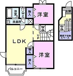 クレストール上野 A[2階]の間取り