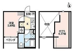 大阪府堺市堺区桜之町東1丁の賃貸アパートの間取り