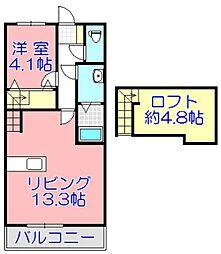 ジェニファー24 A棟A 2階1LDKの間取り