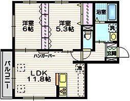 (仮称)大森東1丁目メゾン 2階2LDKの間取り