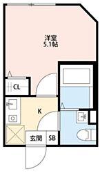 T.A北区上中里3丁目A棟 2階1Kの間取り