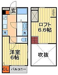 JR総武線 稲毛駅 徒歩13分の賃貸アパート 1階1Kの間取り