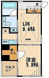小田急小田原線 祖師ヶ谷大蔵駅 徒歩9分の賃貸マンション 3階1LDKの間取り