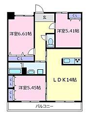 大阪府羽曳野市高鷲10丁目の賃貸アパートの間取り