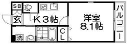 CREA甲斐田東町 2階1Kの間取り
