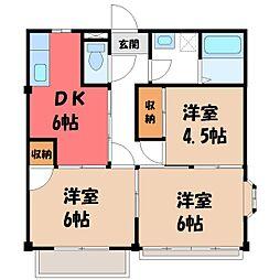 栃木県宇都宮市西一の沢町の賃貸アパートの間取り