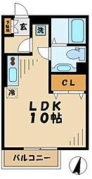 京王相模原線 京王多摩センター駅 徒歩9分の賃貸アパート 2階ワンルームの間取り